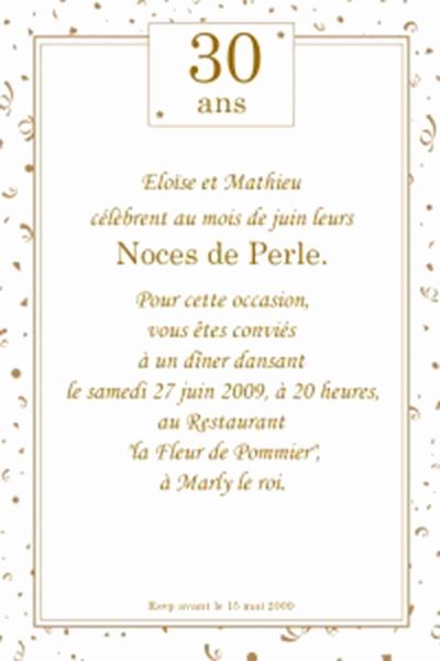 Carte invitation anniversaire 30 ans de mariage