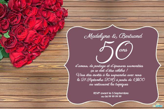 Carte d'invitation gratuite à imprimer pour anniversaire de mariage