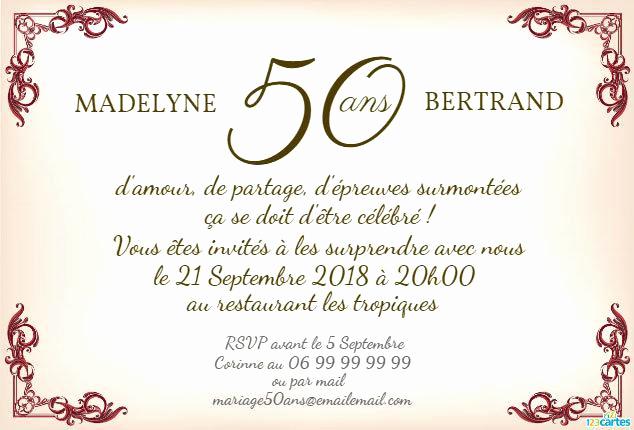 Invitation anniversaire de mariage 50 ans texte