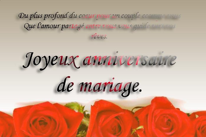 Carte de joyeux anniversaire de mariage