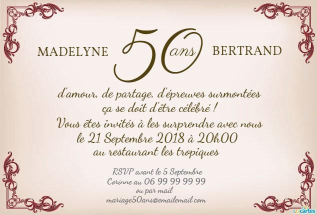 Carte invitation anniversaire de mariage gratuit