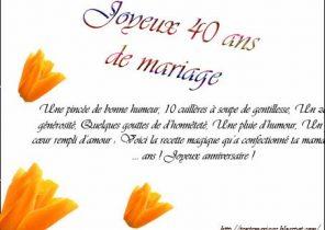 Carte Dinvitation Anniversaire De Mariage 40 Ans