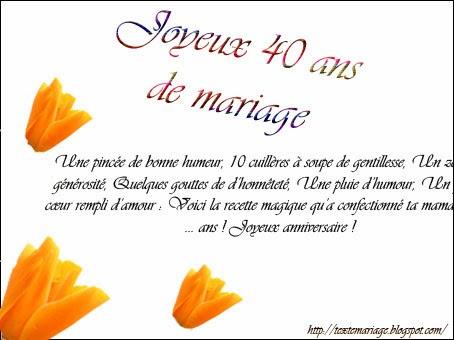 Faire part anniversaire de mariage 40 ans gratuit