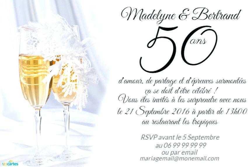 Faire part anniversaire 50 ans de mariage