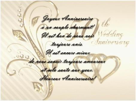 Felicitations pour anniversaire 50 ans de mariage