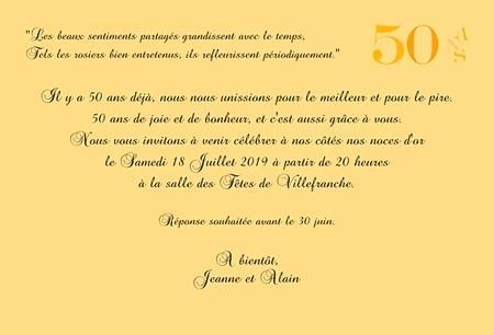Idée de texte pour anniversaire 50 ans de mariage