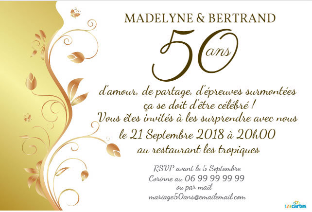 Carton d invitation anniversaire de mariage