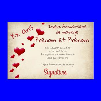 Carte anniversaire 25 ans de mariage gratuite