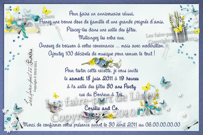 Carte d'invitation anniversaire de mariage 10 ans