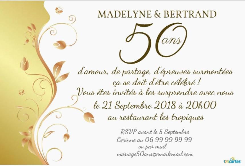 Texte pour carte anniversaire de mariage 50 ans