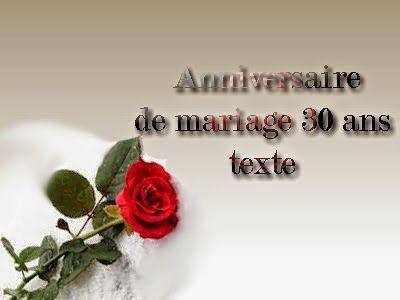Anniversaire de mariage 30 ans noce de