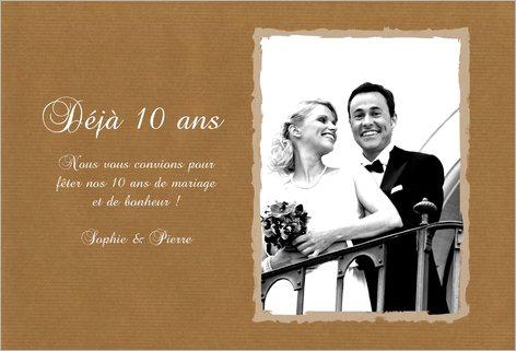 Invitation anniversaire de mariage 10 ans humoristique