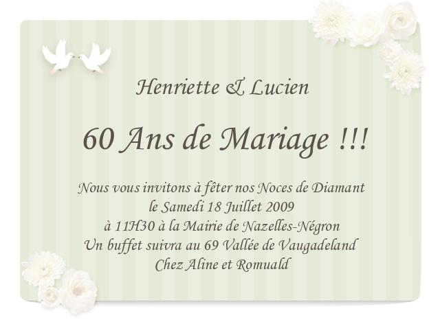 Carte d anniversaire de mariage 60 ans
