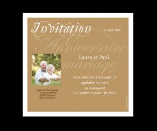 Carte d'invitation pour un anniversaire de mariage