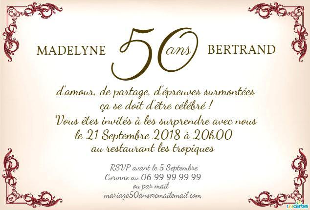 Modele texte d'invitation anniversaire de mariage