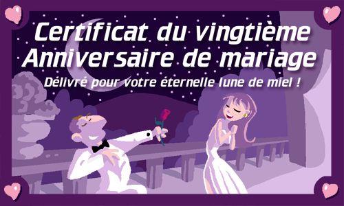 Cybercarte anniversaire de mariage 20 ans