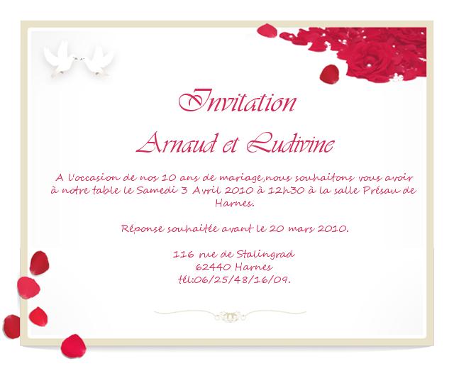 Model invitation anniversaire de mariage