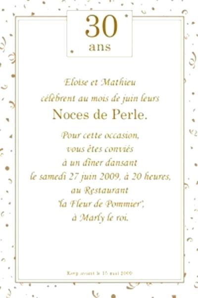 Anniversaire De Mariage 30 Ans Carte Elevagequalitetouraine