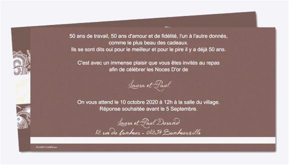 Modele carte invitation anniversaire 50 ans de mariage