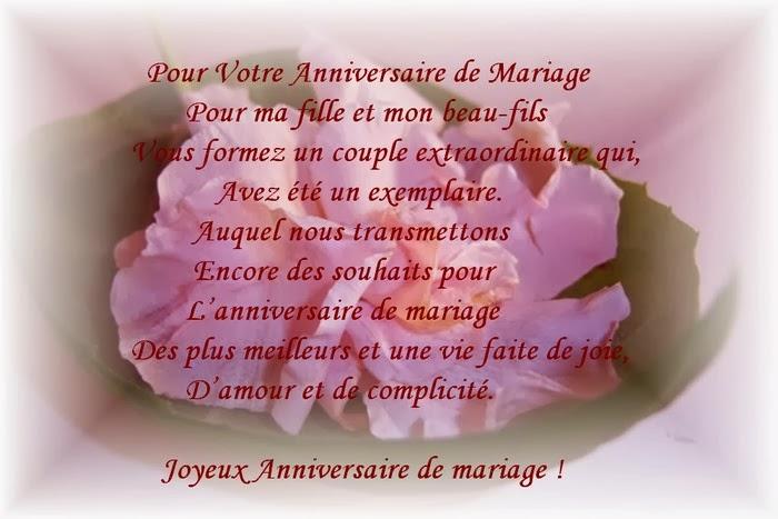 Poeme de anniversaire mariage