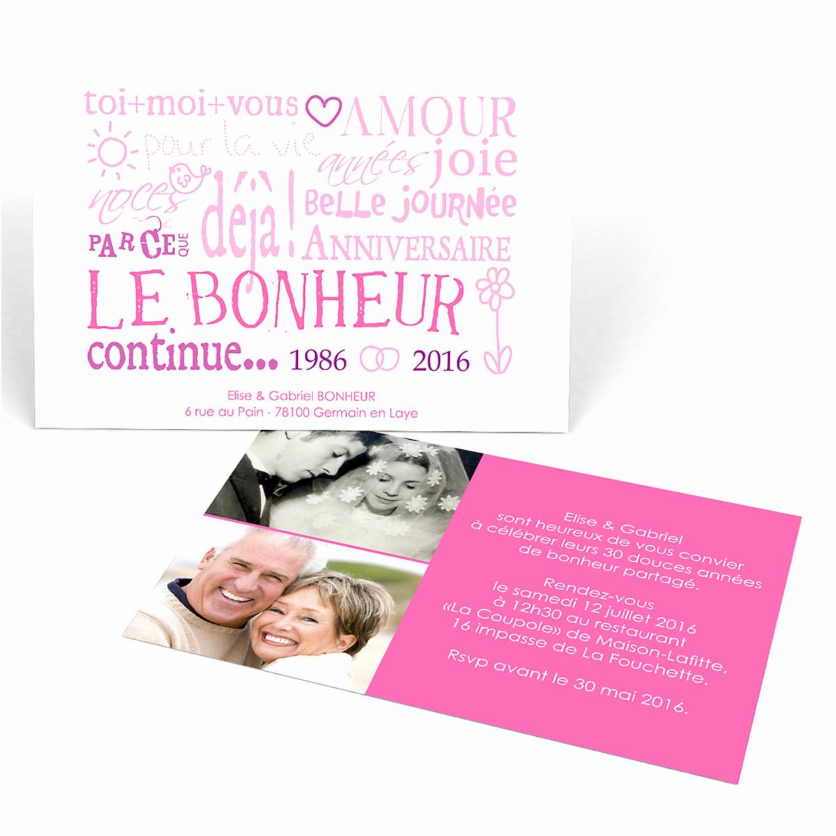 Modele invitation anniversaire de mariage 30 ans - Elevagequalitetouraine