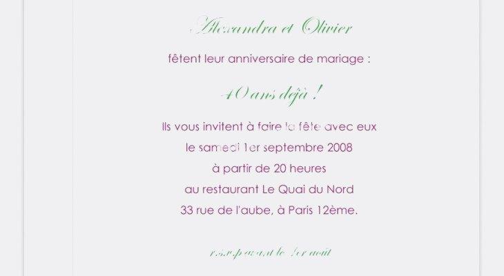 Invitation anniversaire 20 ans de mariage gratuit
