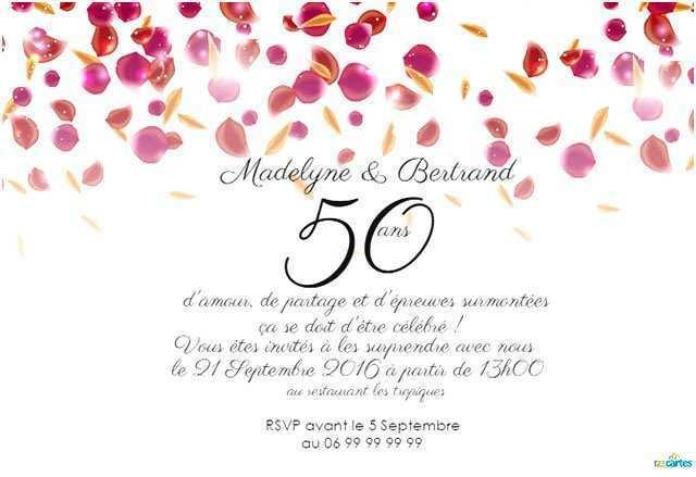 Idée invitation anniversaire 50 ans de mariage