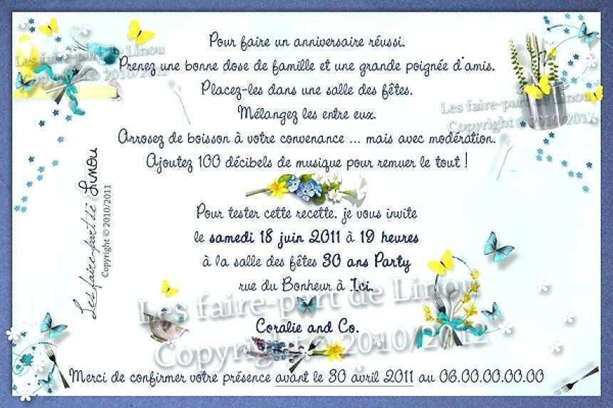 Texte pour invitation anniversaire de mariage gratuit